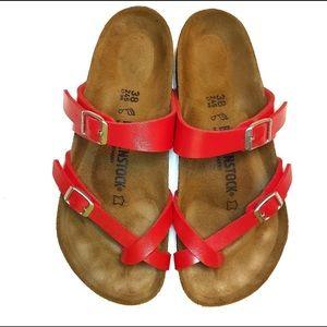 Birkenstock Mayari strappy red sandals size 38/8